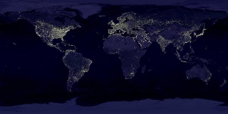 tierra, luces, mapa del mundo