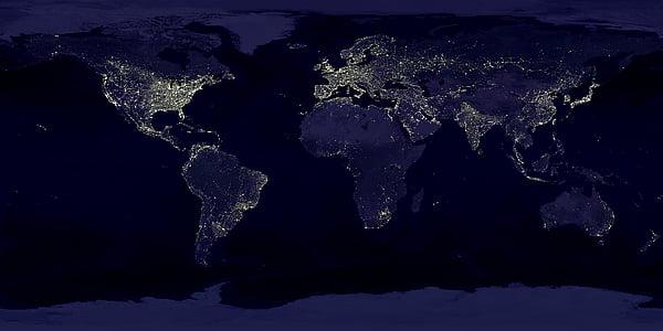 terra, llums, mapa del món