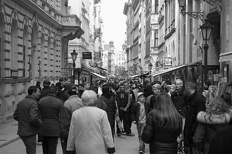 grayscale, photography, people, streets, high, rise, buildings