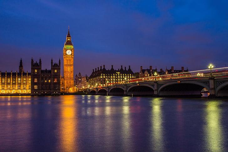 Big ben, Bridge, City, Kellotorni, Lontoo, yö, heijastus