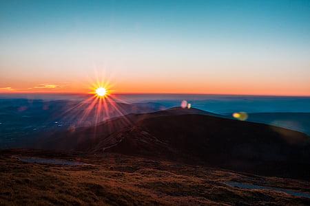 mountain, highland, cloud, sky, sunlight, sunshine, sunset