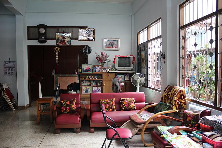 interjers, dzīvot, dzīvojamā istaba, dzīvoklis, Āzija