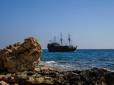 coast, ship, pirates, sailboat, cyprus, sea, nautical Vessel