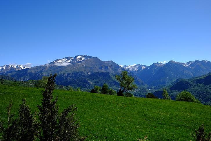 mountain, pyrenees, green, high mountain, high mountains, nature, landscape