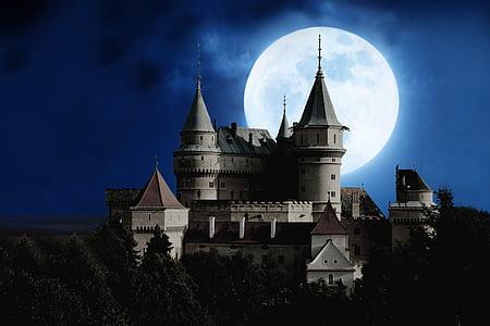 månen, slott, fullmåne, mystiska, natt, humör, siluett