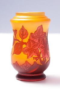 vase, glas, Emile Galle, art nouveau, glaskunst, glas vase, Fern mønster