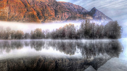 fog, lake, reflection, mountain, landscape, nature, water