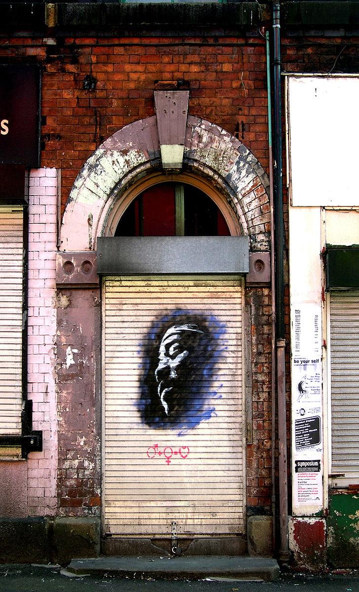 ajtó, Manchester, graffiti, városi, design, festék, spray