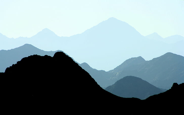 landscape, mountain range, mountains, nature, silhouette, mountain, asia