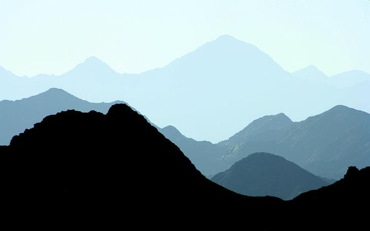 krajobraz, pasmo górskie, góry, Natura, sylwetka, góry, Azja