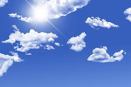 ουρανός, μπλε, μπλε του ουρανού, μπλε ουρανό σύννεφα, φύση, φως, ηλιοφάνεια