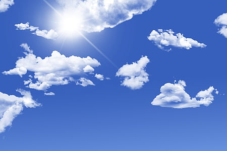 cielo, blu, cielo blu, nubi del cielo blu, natura, luce, soleggiato