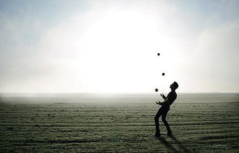 žonglér, trik, Jablko, muž, osoba, mlha, Panorama