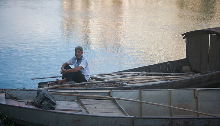 the fisherman, portrait, the old man, reflection, ship