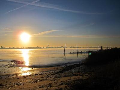 platja, Alba, sorra, l'aigua, oceà, morgenstimmung, moment