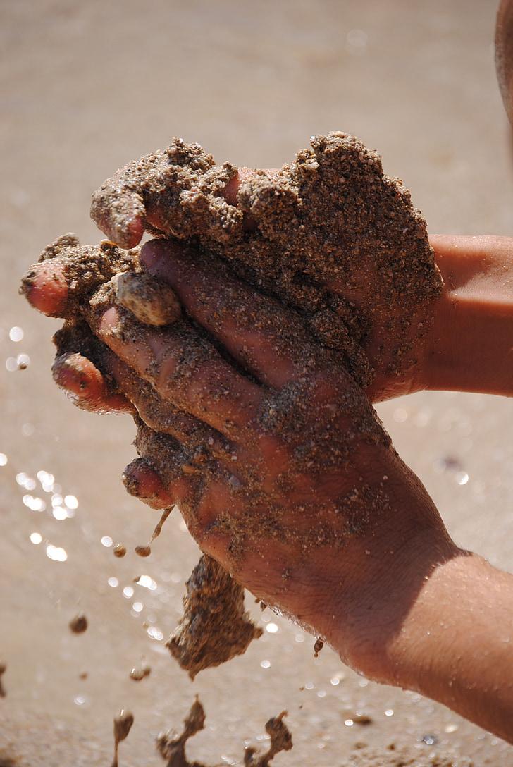 ръце, пясък, Споявам, море, плаж, човешка ръка, хора