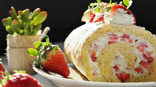 maduixa, Pastís de maduixa, pa de pessic, bisquitrolle, crema, pastís, coure