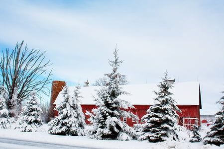 winter barn, snow, rural, farm, red, country, countryside