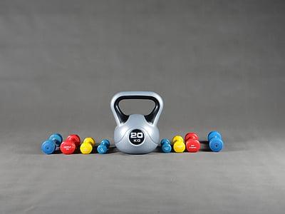 sport, salle de gym, haltère, exercice de
