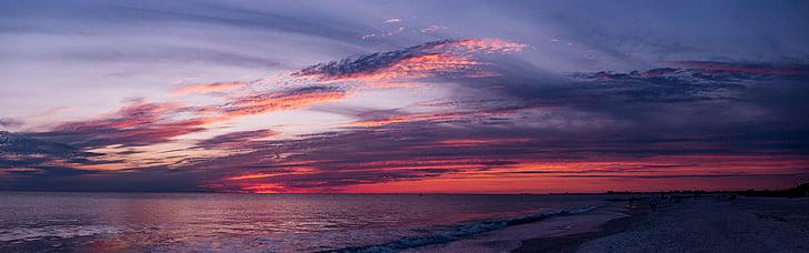 เมฆ, โอเชี่ยน, พาโนรามา, ทะเล, ท้องฟ้า, พระอาทิตย์ตก, น้ำ