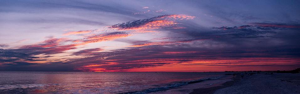 nubes, Océano, panorama, mar, cielo, puesta de sol, agua