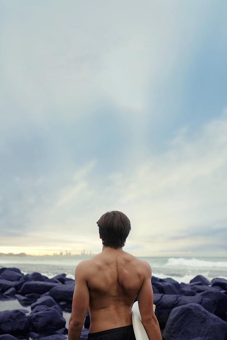 Précédent, s'adapter, horizon, muscles, océan, roches, mer