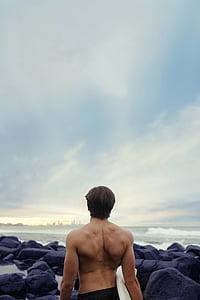 atpakaļ, atbilst, Horizon, muskuļi, okeāns, akmeņi, jūra