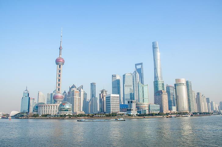 sinine taevas, City, Shanghai, bund, hoone, Oriental pearl tower