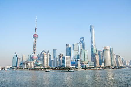blå himmel, City, Shanghai, bund, bygning, Oriental pearl tower