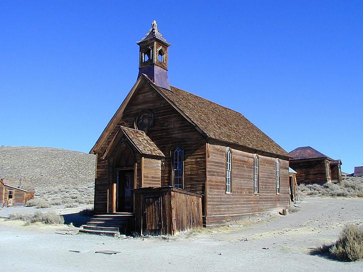 baznīca, ēka, bodie, California, Boomtown, ghost town