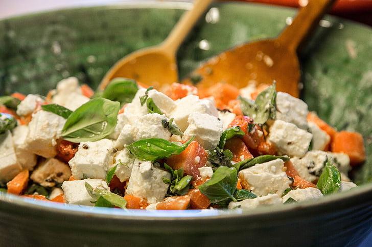 šalát, Feta syr, zdravé, bazalka, chutné, jesť
