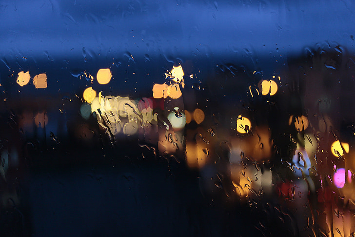bokeh, rain, glass, night, dark