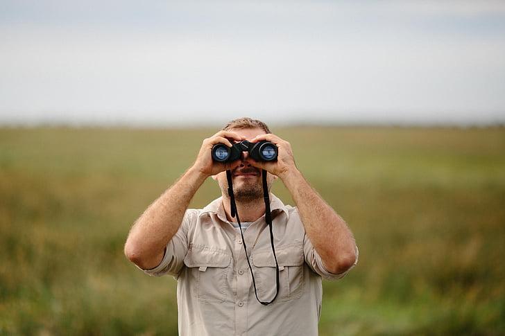 사람들, 남자, 쌍안경, 그린, 자연, 조 경, 잔디