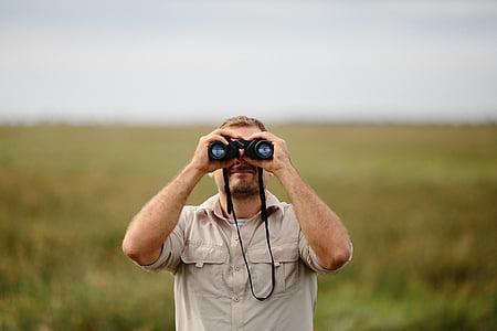 persones, home, prismàtics, verd, natura, paisatge, herba