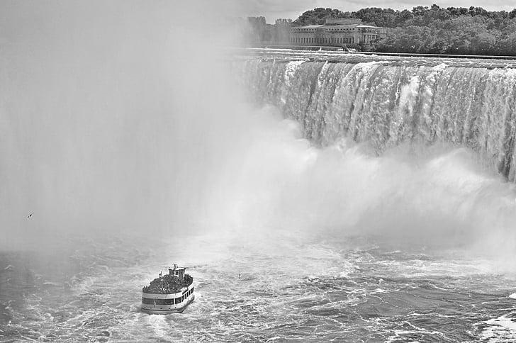 negre i blanc, Artesania de voltar, boira, Cascades del Niàgara, vaixell, visites guiades, l'aigua