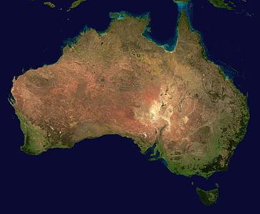 món, oceà, Austràlia, Continent, Vista aèria, Geografia, mapa, vista de satèl·lit