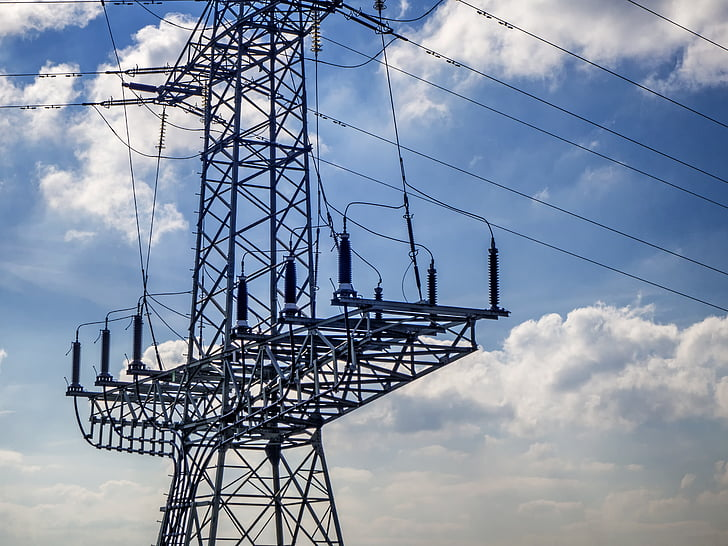 strommast, actual, cables, línia de poder, electricitat, alta tensió, piló
