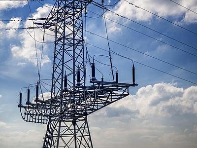 strommast, current, wires, power line, electricity, high voltage, pylon