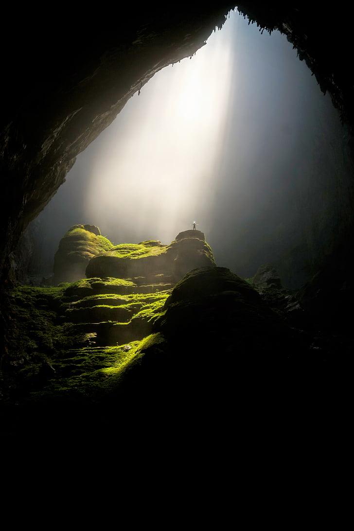 caverna, Cavern, escuro, luz do dia, paisagem, musgo, natureza