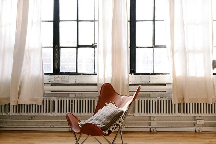 llançar, coixí, cadira, fusta, Windows, cortines, radiadors