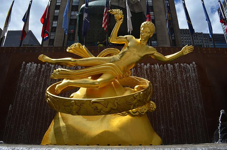 prometheus, source, rockefeller, new york, statue, mythology