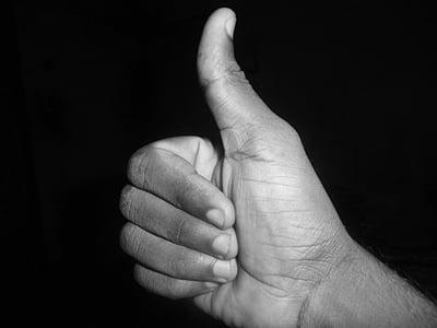 polze cap amunt, com, signe, mà, correcte, bona, símbol