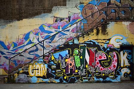 utca, Art, graffiti, festészet, fal, épület, létrehozása