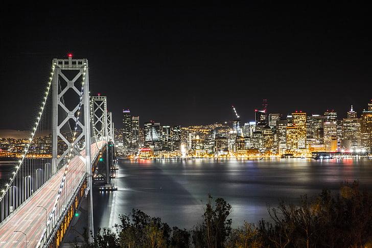 architecture, bridge, buildings, city, city lights, cityscape, evening