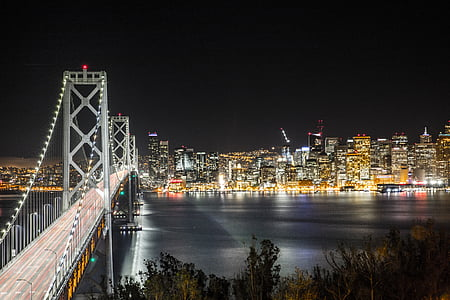architecture, bridge, buildings, city, city lights, cityscape, evening