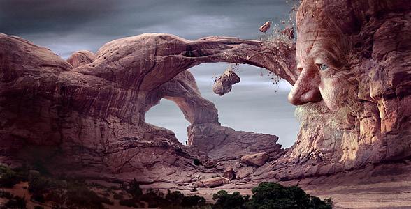 mystical, face, landscape, steinalt, man, rock, arch