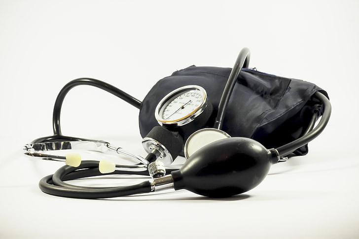 pressió arterial, manómetre, mèdica, la prova, calibre, equips, eina mèdica