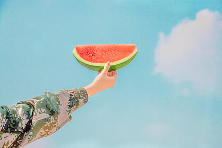 person, holding, sliced, watermelon, fruit, arms, human body part