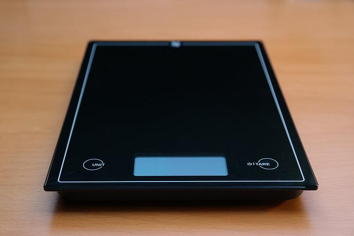 horizontal, Balance de cuisine, noir, budget, ustensile de cuisine, Balance digitale, plat