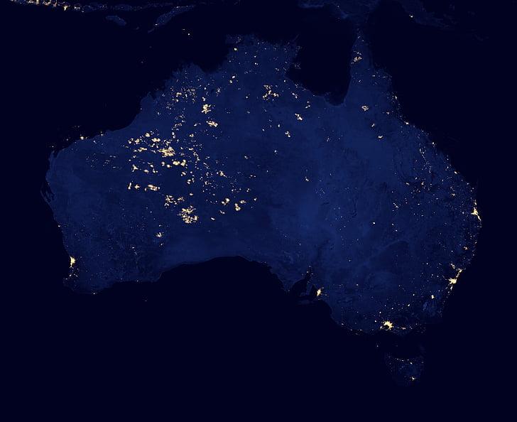 australia, cities, lights, space, night, satellite, map